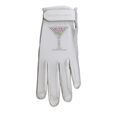 Luxury Cabretta Leather Sun Glove- Crystal Martini- White