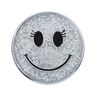 Silver Sparkly Smiley Face Golf Ball Marker