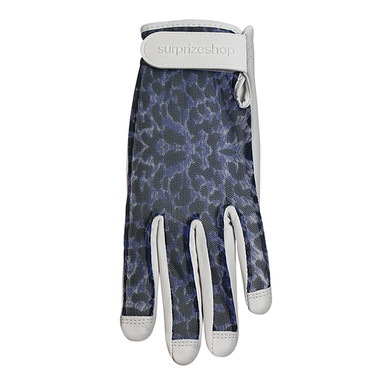 Luxury Cabretta Leather Sun Glove- Blue Cheetah