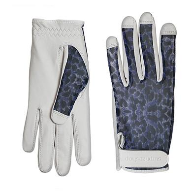 Luxury Cabretta Leather Sun Glove- Blue Cheetah