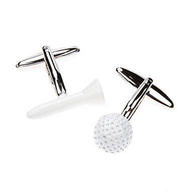 White Enamelled Golf Ball and Tee Cufflinks