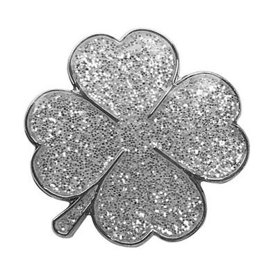 Four Leaf Clover  Sparkly Silver Golf  Ball Marker