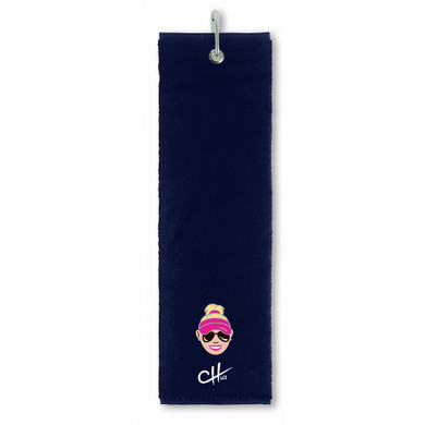 The Charley Hull Collections Golf Tri Fold Towel - Caricature - Blue