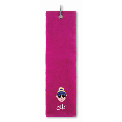 The Charley Hull Collections Golf Tri Fold Towel - Caricature - Pink