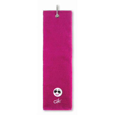 The Charley Hull Collections Golf Tri Fold Towel - Golf Ball - Pink