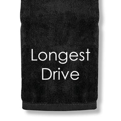 Longest Drive Tri Fold Golf Towel Prize - Black