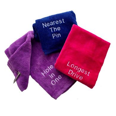Hole in One Tri Fold Golf Towel Prize - Purple