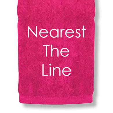 Nearest The Line Tri Fold Golf Towel Prize - Pink