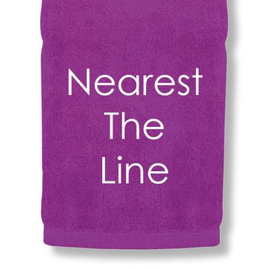 Nearest The Line Tri Fold Golf Towel Prize - Purple