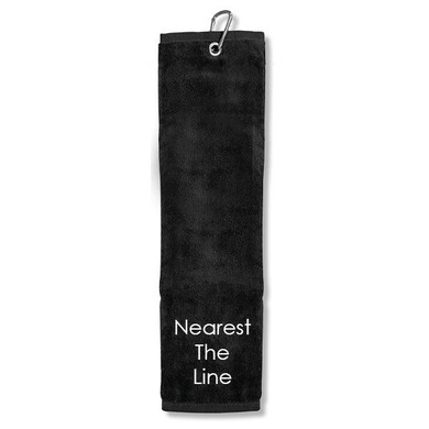 Nearest The Line Tri Fold Golf Towel Prize - Black