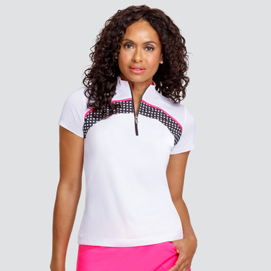 Tail Ladies Golf Carrie Short Sleeve Polo - White & Checkmate