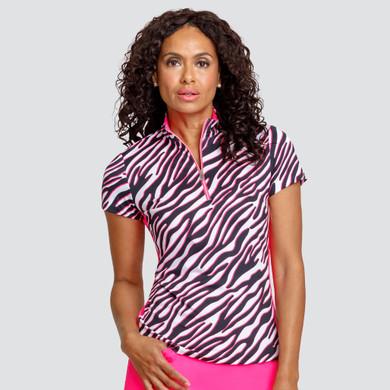 Tail Ladies Golf Neve Short Sleeve Polo - Zebra Ramble