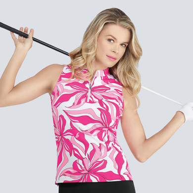 Tail Ladies Golf Miliah Sleeveless Polo - Exploded Petals