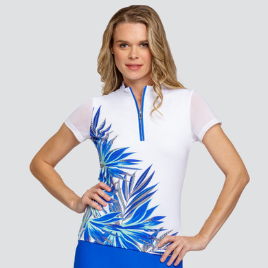 Tail Ladies Golf Michelle Short Sleeve Polo - Frayed Frond-Placed