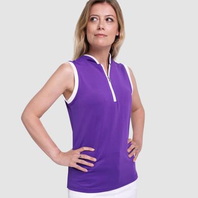 Pure Golf Bloom Sleeveless Polo Shirt - Purple