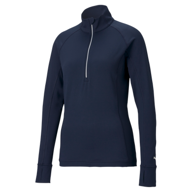 Puma Golf Ladies Rotation Long Sleeve Quarter Zip- Peacoat Navy