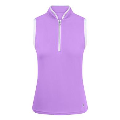 Pure Golf Bloom Ladies Sleeveless Polo Shirt - Lilac