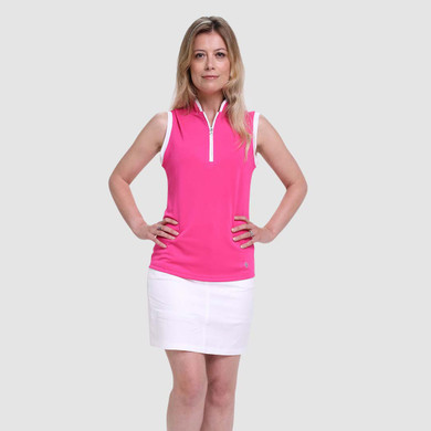 Pure Golf Bloom Ladies Sleeveless Polo Shirt - Hot Pink