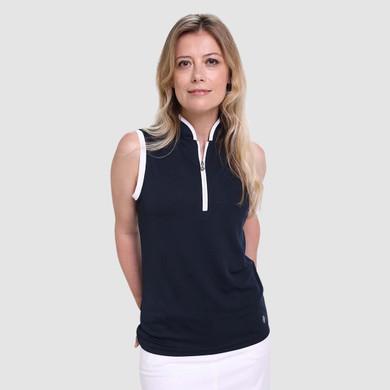 Pure Golf Bloom Ladies Sleeveless Polo Shirt - Navy