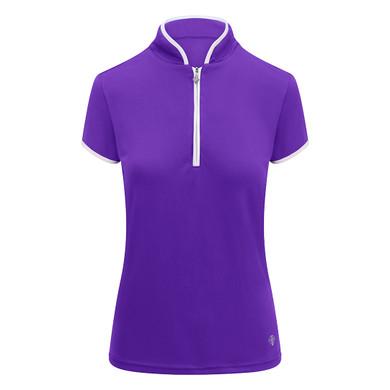 Pure Golf Bloom Ladies Cap Sleeve Polo Shirt - Purple