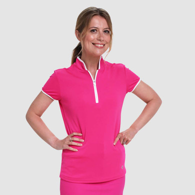 Pure Golf Bloom Ladies Cap Sleeve Polo Shirt - Hot Pink