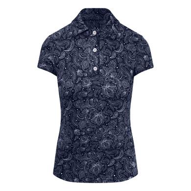 Pure Golf  Rise Cap Sleeve Polo Shirt - Navy