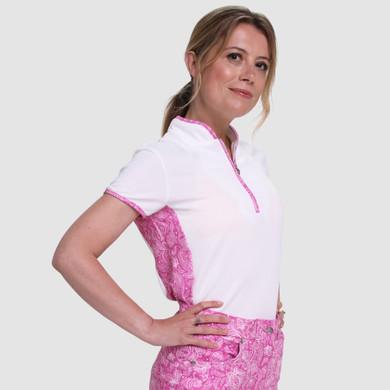 Pure Golf  Bliss Cap Sleeve Polo Shirt - Azalea