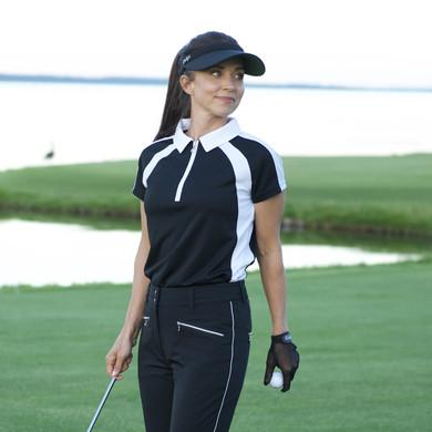 Daily Sports Ladies Roxa Cap Sleeve Polo - Black