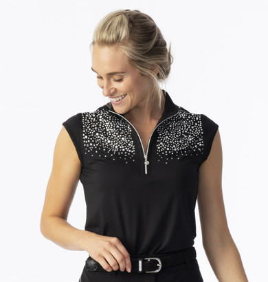 Daily Sports Ladies Parisa Cap Sleeve Polo- Black