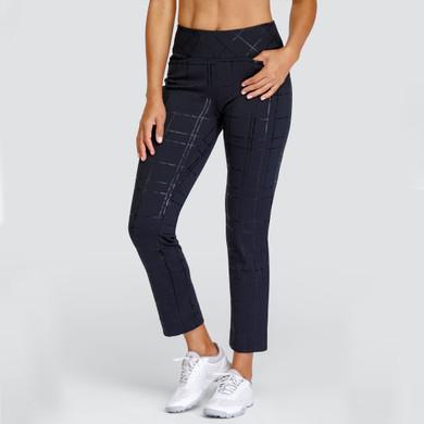 Tail Ladies Golf Lelah Pull On Black 31 Inch Trouser with Tonal Black Cheque Detaling- Lustre Lattice