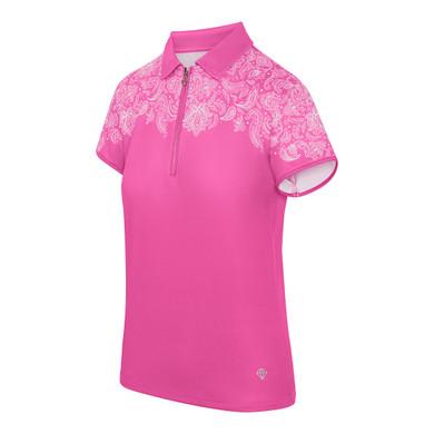Pure Golf Trinity Cap Sleeve Polo Shirt - Azalea