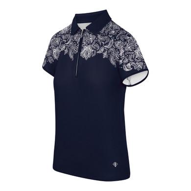 Pure Golf Trinity Cap Sleeve Polo Shirt - Navy