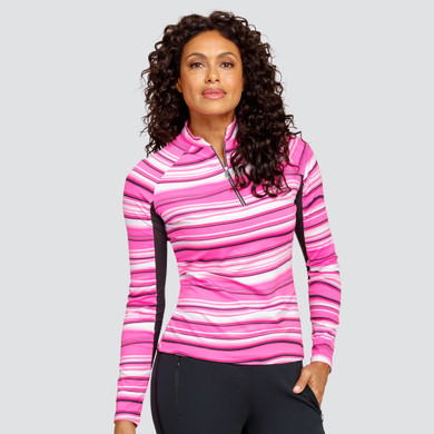 Tail Ladies Golf Shalia Long Sleeve 3/4 Zip Polo - Quarry