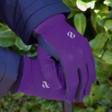 Ladies Golf Polar Stretch Pair of Winter Gloves - Purple