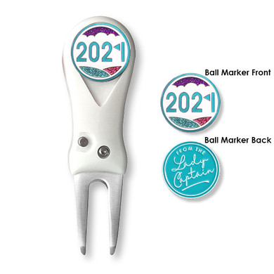 From the Lady Captain 2021 Flick Action Pitchfork and Ball Marker- Aqua