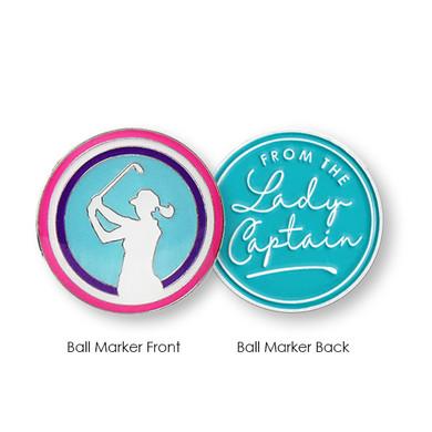 From The Lady Captain  Golf Ball Marker- Aqua