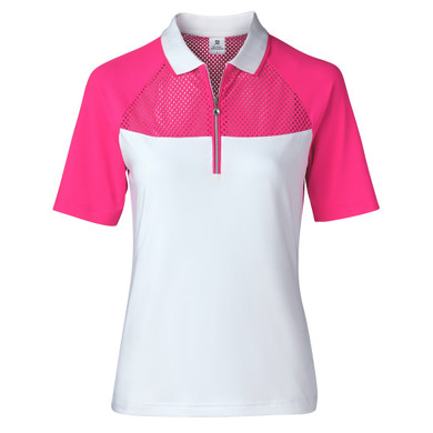 Daily Sports Domia Half Sleeve Polo Shirt Hot Pink - Front