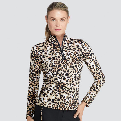 Tail Ladies Golf Tatianna Long Sleeve 3/4 Zip Polo - Feisty Feline Leopard
