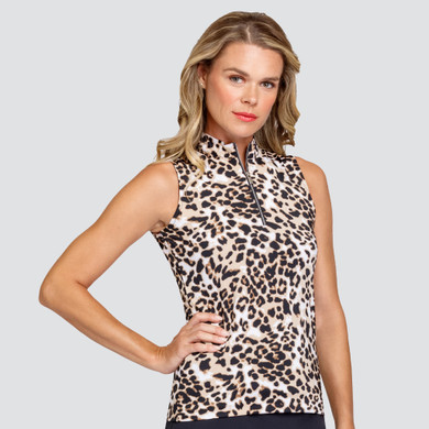 Tail Ladies Golf Adriana Sleeveless Polo - Feisty Feline Leopard