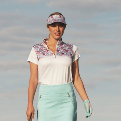 Daily Sports Paisley Cap Sleeve Polo Shirt White - Front Lifestyle