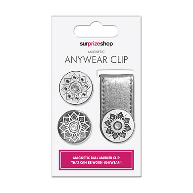 Metallic Silver Golf Ball Marker Anywear Set