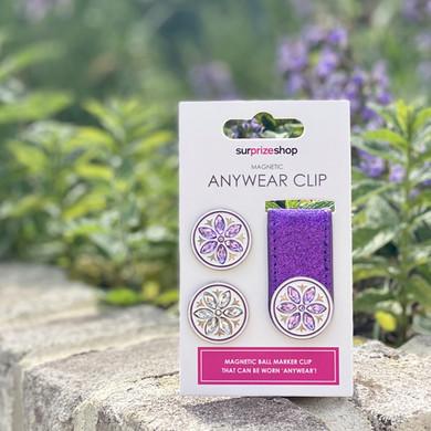 Purple Glitter  Golf Ball Marker Anywear Set