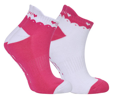 2 Pair Pack Of Pink And White Ladies Golf Socks