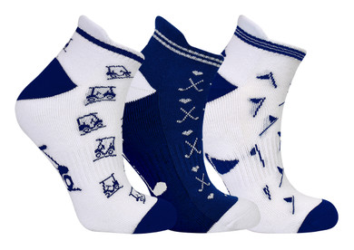 3 Pair Pack Of Navy Ladies Golf Socks