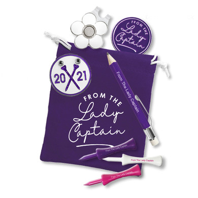 Lady Captain's Day  2021 Golf Ball Marker and Visor Clip Set-Purple
