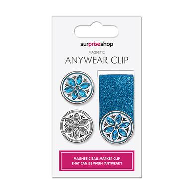 Aqua  Glitter  Ball Marker Anywear Set