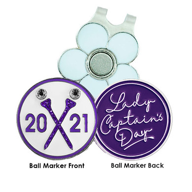 Lady Captain's Day 2021 Golf Ball Marker and Visor Clip - Purple