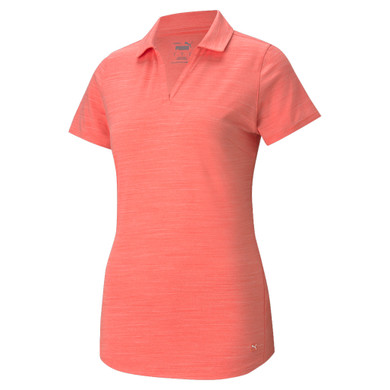 Puma Ladies Cloudspun Free Short Sleeve Polo- Georgia Peach