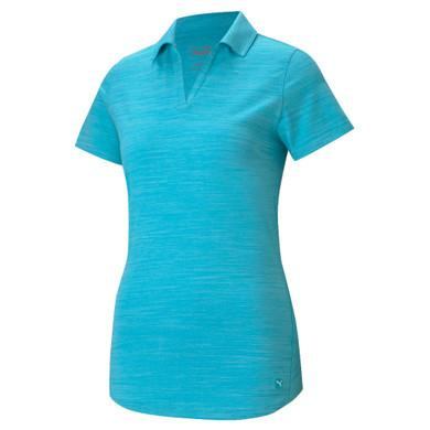 Puma Ladies Cloudspun Free Short Sleeve Polo- Scuba Blue