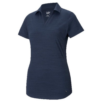 Puma Ladies Cloudspun Free Short Sleeve Polo- Navy